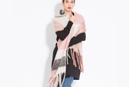 Sjaal met kwastjes voor dames   Grote gebreide sjaal in 12 kleuren Roze/wit