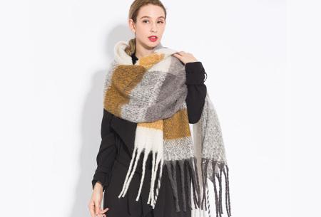 Sjaal met kwastjes voor dames   Grote gebreide sjaal in 12 kleuren Okergeel/grijs