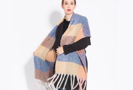 Sjaal met kwastjes voor dames   Grote gebreide sjaal in 12 kleuren Blauw/beige