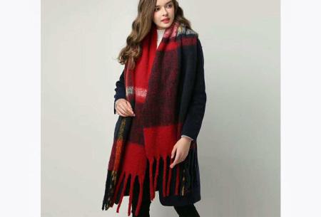Sjaal met kwastjes voor dames   Grote gebreide sjaal in 12 kleuren Rood/zwart
