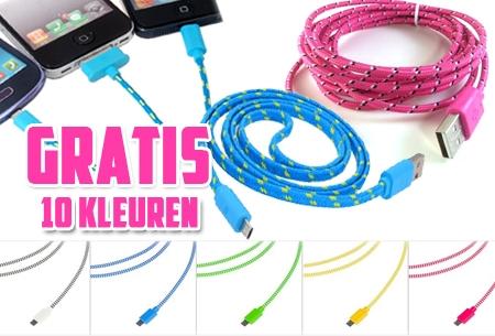 Sterke 2 meter USB oplaadkabel voor iPhone 4, 5 en Micro USB nu GRATIS!