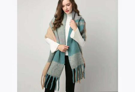 Sjaal met kwastjes voor dames   Grote gebreide sjaal in 12 kleuren Roze/blauw