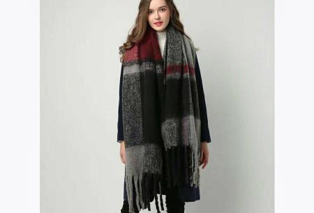 Sjaal met kwastjes voor dames   Grote gebreide sjaal in 12 kleuren Rood/grijs