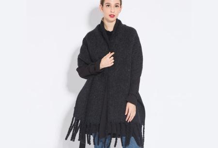 Sjaal met kwastjes voor dames   Grote gebreide sjaal in 12 kleuren Zwart