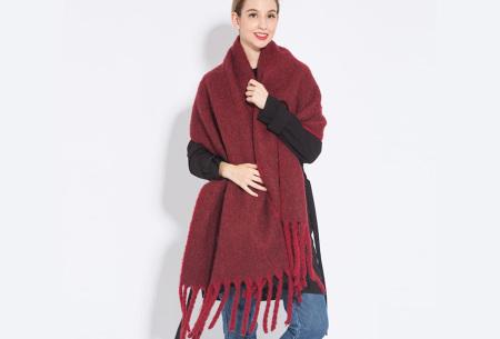 Sjaal met kwastjes voor dames   Grote gebreide sjaal in 12 kleuren Rood