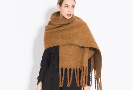 Sjaal met kwastjes voor dames   Grote gebreide sjaal in 12 kleuren Okergeel