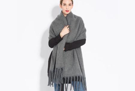 Sjaal met kwastjes voor dames   Grote gebreide sjaal in 12 kleuren Grijs