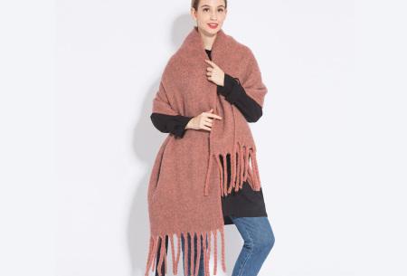 Sjaal met kwastjes voor dames   Grote gebreide sjaal in 12 kleuren Oudroze