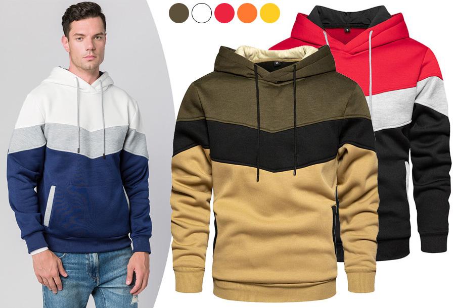 Tricolor heren hoodie met 70% korting