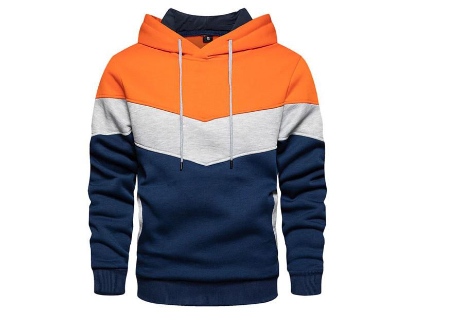 Tricolor heren hoodie Maat M - Oranje