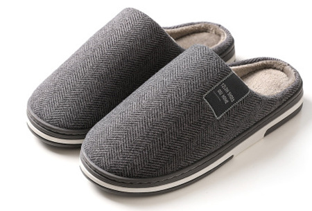 Visgraat pantoffels voor dames en heren | Instap sloffen met stevige zool Donkergrijs