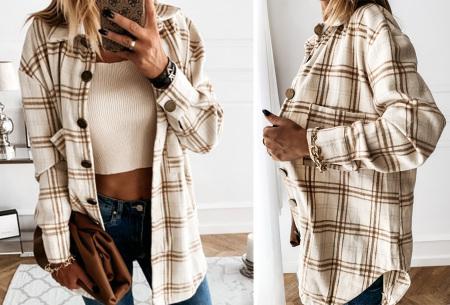 Checkered blouse | Trendy geruite dames blouse - In 6 kleuren en 2 modellen Beige