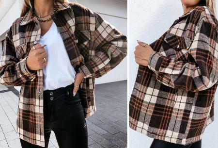 Checkered blouse | Trendy geruite dames blouse - In 6 kleuren en 2 modellen Bruin