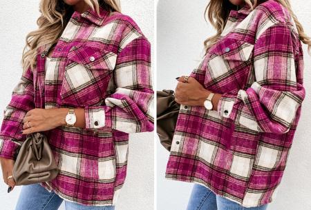 Checkered blouse | Trendy geruite dames blouse - In 6 kleuren en 2 modellen Donkerroze