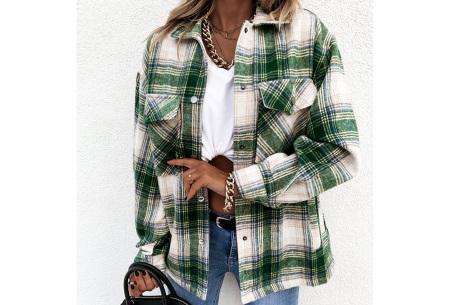 Checkered blouse | Trendy geruite dames blouse - In 6 kleuren en 2 modellen Groen