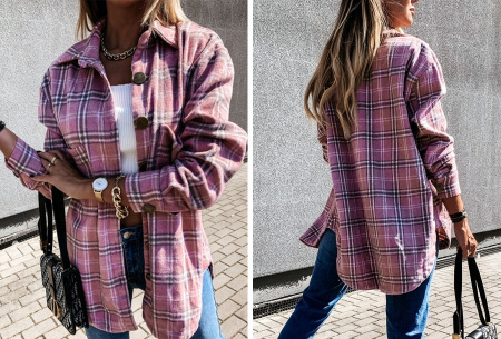 Checkered blouse | Trendy geruite dames blouse - In 6 kleuren en 2 modellen Oudroze