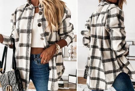 Checkered blouse | Trendy geruite dames blouse - In 6 kleuren en 2 modellen Wit