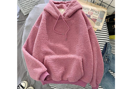 Comfy teddy sweater | Warme hoodie met fleece binnenkant - In 5 kleuren! Roze