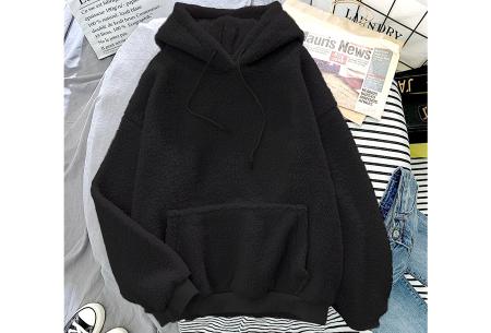 Comfy teddy sweater | Warme hoodie met fleece binnenkant - In 5 kleuren! Zwart
