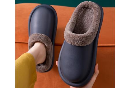 Leatherlook sloffen   Warm gevoerde pantoffels van imitatieleer Donkergrijs