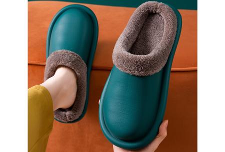 Leatherlook sloffen   Warm gevoerde pantoffels van imitatieleer Donkergroen