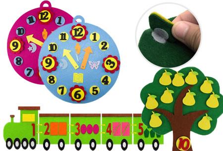 Vilten leerhulpjes | Educatief speelgoed om te leren tellen of klok te kijken