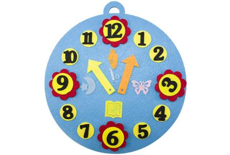 Vilten leerhulpjes | Educatief speelgoed om te leren tellen of klok te kijken  Blauwe klok