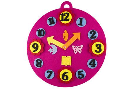 Vilten leerhulpjes | Educatief speelgoed om te leren tellen of klok te kijken  Roze klok