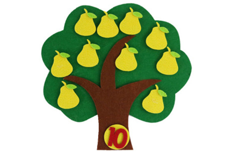Vilten leerhulpjes | Educatief speelgoed om te leren tellen of klok te kijken  Perenboom