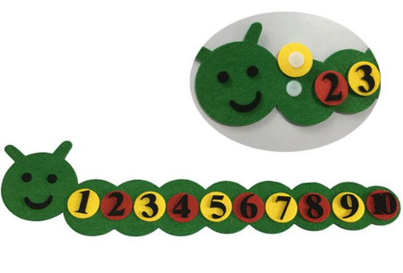 Vilten leerhulpjes | Educatief speelgoed om te leren tellen of klok te kijken  Rups