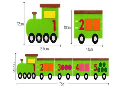 Vilten leerhulpjes | Educatief speelgoed om te leren tellen of klok te kijken  Trein