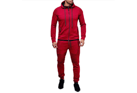 Heren trainingspak | Met ribdetails en warme fleece voering Rood