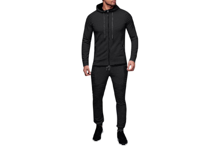 Heren trainingspak | Met ribdetails en warme fleece voering Zwart