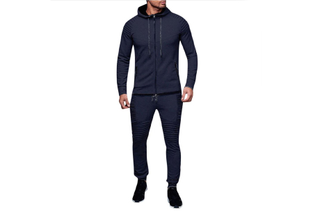 Heren trainingspak | Met ribdetails en warme fleece voering Donkerblauw