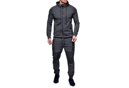Heren trainingspak | Met ribdetails en warme fleece voering Donkergrijs