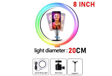 Selfie ringlight | In 2 formaten - met of zonder standaard 20 cm