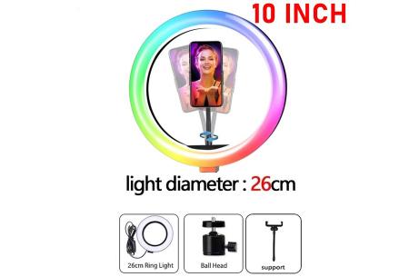 Selfie ringlight | In 2 formaten - met of zonder standaard 26 cm