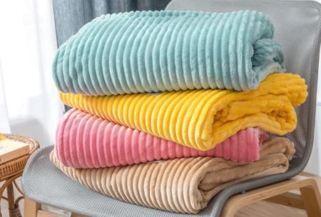 Corduroy plaid | Deken van zachte fleecestof - In diverse maten en kleuren
