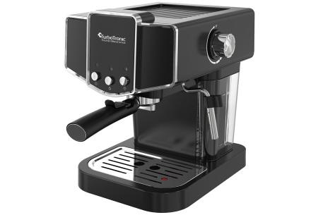 TurboTronic espressomachine | Maak thuis de lekkerste espresso of cappuccino! Zwart