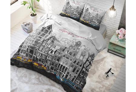 Dreamhouse katoenen dekbedovertrek   Comfortabel beddengoed met print Old Amsterdam Grey