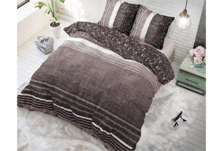 Dreamhouse katoenen dekbedovertrek   Comfortabel beddengoed met print Matrix Taupe