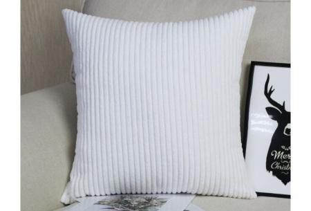 Set van 2 corduroy kussenhoezen | Superzachte kussenslopen van ribstof - in verschillende maten Wit
