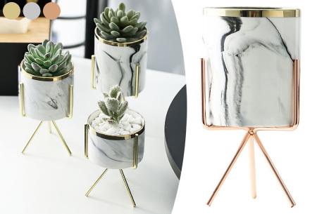 Marmerlook bloempot op standaard | Trendy plantenpot voor binnen!