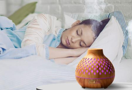 Luchtbevochtiger met houtlook | 400 ml aroma diffuser
