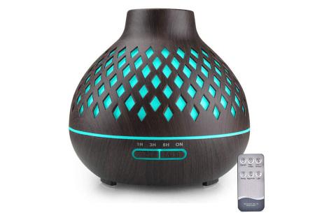 Luchtbevochtiger met houtlook | 400 ml aroma diffuser  Geruit donkerbruin