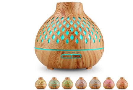 Luchtbevochtiger met houtlook | 400 ml aroma diffuser  Geruit lichtbruin