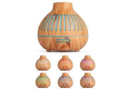 Luchtbevochtiger met houtlook | 400 ml aroma diffuser  Gestreept lichtbruin