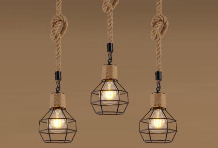 Industriële touwlamp | Hanglamp voor boven de eettafel Model A