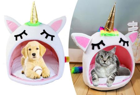 Unicorn katten- en hondenmand | Schattig en zacht huisje met eenhoorn ontwerp