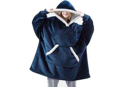Super comfy fleece hoodie | Een trui en deken in één! - Voor dames en heren Blauw